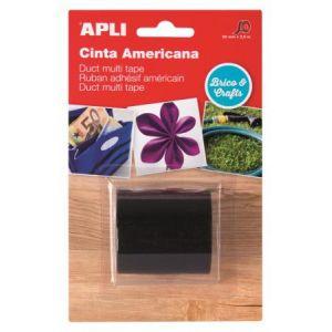 APLI 15209 - Ruban adhésif américain multi-usage, 50mm x 2,5m, toilé noir
