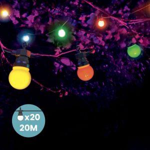 SkyLantern Guirlande Guinguette 20M Multicolore - Guirlande Guinguette Exterieure de 20M + 3M de cable 10