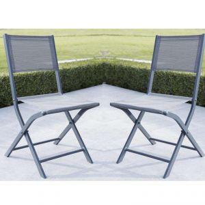 Wilsa Modulo - 2 chaises de jardin pliantes en aluminium et textilène