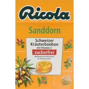 Ricola Argousier, Bonbons suisses aux plantes, Sans sucres et avec édulcorants - La boite de 50g