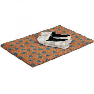 Relaxdays Paillasson Points en fibres de coco, HxlxP: 1,5 x 60 x 40 cm, antidérapant, rectangle fibres de coco, caoutchouc, nature-bleu - 4052025210397