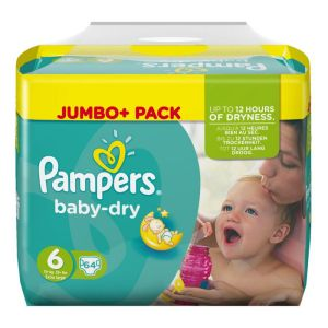 Pampers Baby Dry taille 6 Extra Large (15+ kg) - Jumbo Plus Pack 64 couches