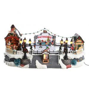 Décoris Village de Noël lumineux LED et animé patinoire