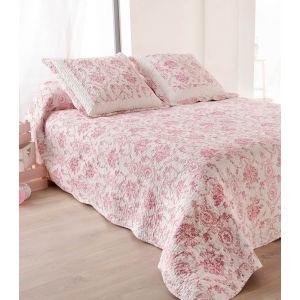 LINDER Couvre lit 180×240 Toile de jouy Rose   Comparer avec