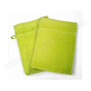 Lot de 2 gants de toilette 100% coton Vitamine 15x21 cm anis