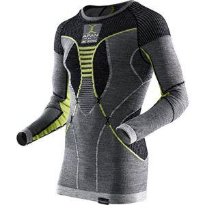 X-Bionic Maillot de corps manches longues Apani Merino Fastflow noir-gris-jaune