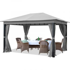 Intent24 Pavillon de Jardin 3x4m ALU Premium env. 220g/m² bâche imperméable tonnelle 4 côtés Tente de Jardin Gris Clair 9x9cm Profil