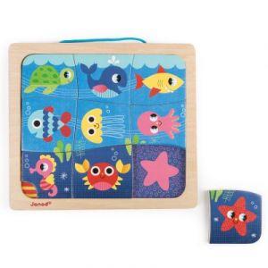 Janod Puzzle magnétique Magneto Puzzle Happy Fish (9 pièces)