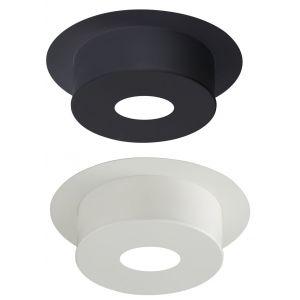 Poujoulat Plaque de finition pour conduit isolé inox/galva pour poêle à bois - Plaque ronde hauteur 12 cm - Diamètre : 130 mm - couleur : BLANC