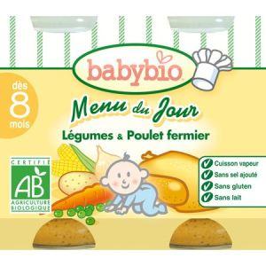 BabyBio Menu du jour : Légumes-Poulet fermier 2 x 200g - dès 8 mois