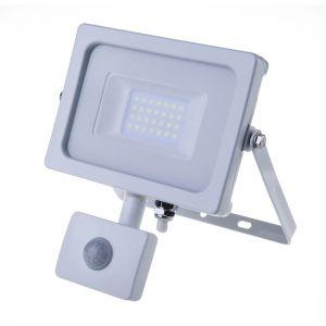 V-TAC Projecteur LED 20W avec Sensor PIR 1600LM 100° corps en aluminium blanc résistant IP44 VT-4922 - SKU 5806 Blanc froid 6400K