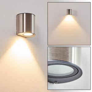 Hofstein Applique LED d'extérieur Vano en acier inoxydable et verre, lampe murale moderne créant un élégant effet lumineux, IP44, idéal pour une porte d'entré ou une terrasse, 6 Watt, 600 Lumen, 3000 Kelvin