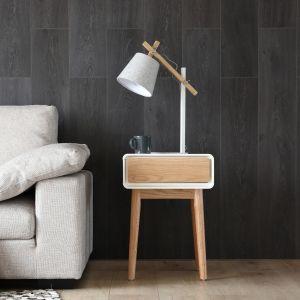 Concept-Usine Lovisa blanc : bout de canapé scandinave, table de chevet, table d'appoint