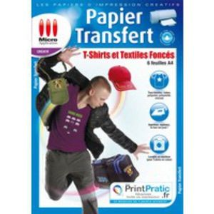 Micro application Papier créatif Transfert textile couleur -6 feuilles