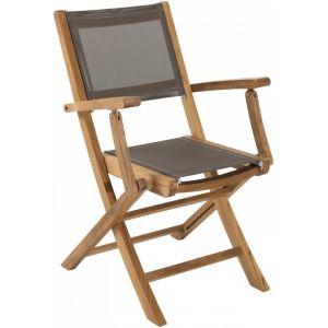 Macabane Lot 2 fauteuils pliants en teck et textilène - Couleur taupe - Lot 2 fauteuils pliants n textilène - Taupe