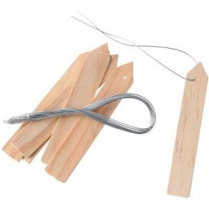 Nature Etiquettes en bois (teinte l) a suspendre - Etiquettes en bois (teinte l) à suspendre pour plantes incl. fil de fer - H10 cm - X15