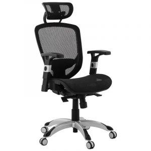 Kokoon Design Fauteuil de bureau noir ergonomique KATRINA