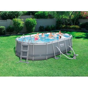 Bestway Piscine tubulaire Power Steel Frame Ovale L 424 l 250 h 100