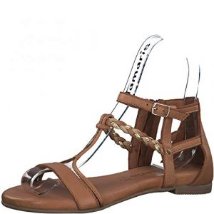 Tamaris Femme Sandales, Dame Sandale à lanières,Sandale Romaine,Sandalette,Sandale de Gladiateur,Sandale d'été,Nut Comb,36 EU / 3.5 UK