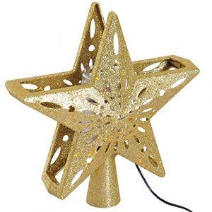 Homcom Projecteur LED étoile éclairage LED intérieur extérieur - décoration sapin de Noël - 4 motifs de projection en rotation flocon sapin boule et bonhomme de neige ABS doré pailleté