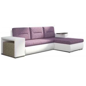 Comforium Canapé d'angle convertible 3 places en tissu rose et cuir synthétique blanc avec pouf et coffre méridienne côté droit