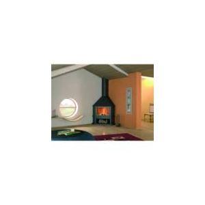 Image de Focgrup CH51 - Cheminée de coin avec porte encadrement laiton, base et foyer réfractaire
