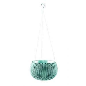 Curver Pot de fleur avec suspensions - Aspect tricot - 28 cm - Bleu océan