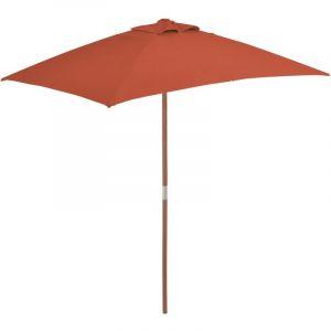 VidaXL Parasol d'extérieur avec mât en bois 150 x 200 cm Terre cuite