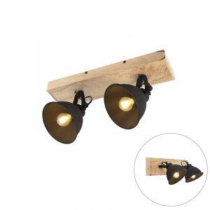 Applique / plafonnier, noir, bois, spots mobiles, L 44 cm