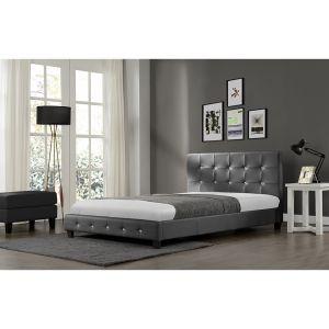 Concept-Usine Lit Notting Hill - Cadre de lit en PU capitonné Gris - 140x190cm