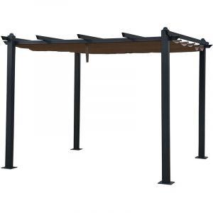 Happy Garden Pergola autoportante 3×3m CASSIS taupe - structure aluminium