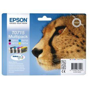 Epson T0715 - Cartouche d'encre d'origine DURABrite Ultra - Multipack Noir, Cyan, Magenta, Jaune