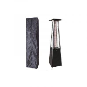 Proweltek Parasol chauffant PYRAMID 14 KW INTEC Allumage électronique -Housse de protection Chauffage extérieur et éclairage de terrasse