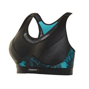 Zsport Brassière de sport respirante, Fitline Divine Noir/Bleu - Taille 100 C;100 D;85 B;90 B;90 C;90 D;95 B;95 C;95 D