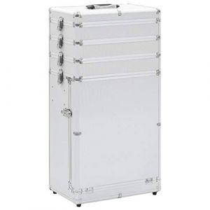 VidaXL Valise de maquillage à 4 étages en aluminium Argenté