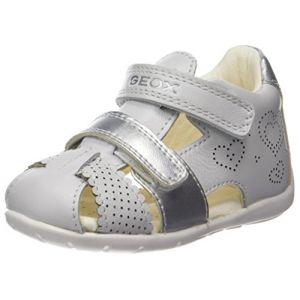 Geox B Kaytan C, Sandales Bout Ouvert bébé fille, Blanc (White/Silver), 23 EU