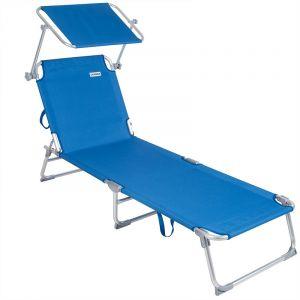 Deuba Casaria - 1x Chaise Longue Pliable Ibiza - Dossier réglable 4 Positions - Pare-Soleil intégré - Compacte et transportable -Toile imperméable - Couleur Bleu