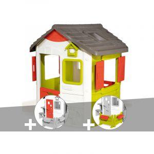 Smoby Cabane enfant Neo Jura Lodge + Porte maison + Espace jardin