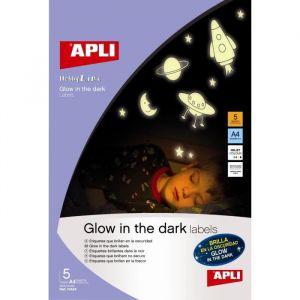 Agipa Papier Adhésif Phosphorescent A4 - 5 Pièces - Apli