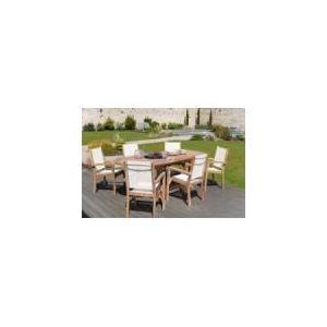 Summer - Table de jardin en teck et textilène avec 6 fauteuils