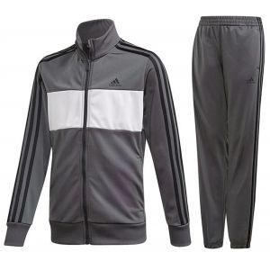 Adidas YB TS TIBERIO Survêtement Garçon, Top:Grey Six/White/Black Bottom:Grey Six S19/Black, FR : L (Taille Fabricant : 1112)