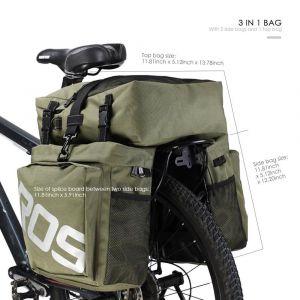 Service-Fox 5L 10l13l 37L étanche Sacoche de vélo Siège Hint TrunkBag Sacoche de selle Kit de réparation haute qualité avec bandoulière amovible et plaque réfléchissante Roswheel, 37L Grün