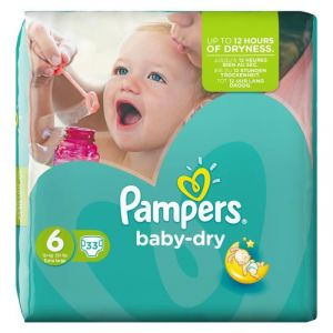 Pampers Baby Dry taille 6 Extra Large + 15 kg - Géant 33 couches