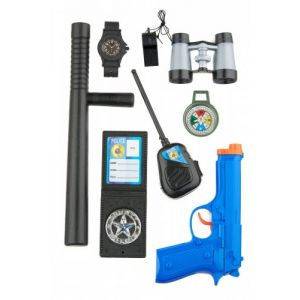 Kit policier enfants avec pistolet, matraque et accessoires