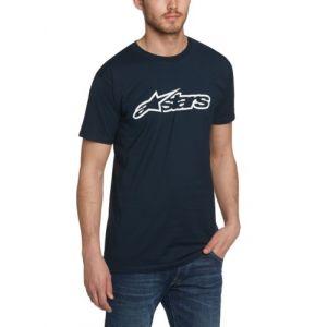Alpinestars Shirt Logo Col rond Short Homme - Bleu - Blue (Navy/White) - FR : L (Taille fabricant : Manufacturer Size:L)