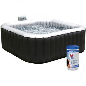 Alpine Pack spa carré gonflable - 4 places - anthracite/intérieur gris + pastilles de brome