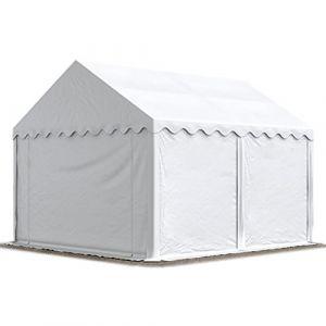 Intent24 Abri / Tente de stockage ECONOMY - 3 x 4 m en blanc - toile PVC 500 g/m² imperméable