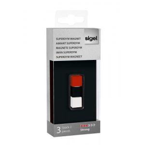 Sigel GL726 - Lot de 3 plots magnétiques Superdym C5 Strong, 1x1x1 cm, noir/blanc/rouge