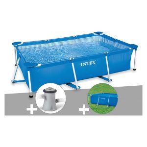 Intex Kit piscine tubulaire rectangulaire 3,00 x 2,00 x 0,75 m + Filtration à cartouche + Bâche de protection + Bâche à bulles