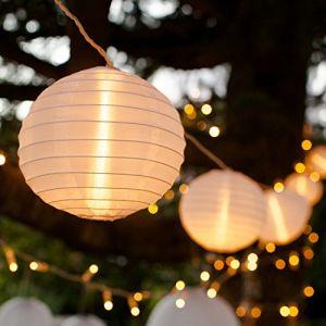 Lights4Fun Guirlande Lumineuse LED Raccordable avec 10 Lampions Chinois Blancs pour Intérieur/Extérieur